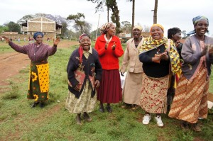 Grannies celebrating at a food drop for elders during the drought.