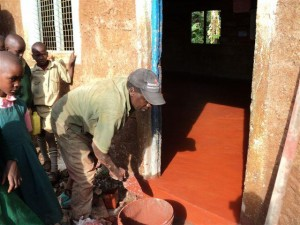 A new concrete floor at Kathithy Primary School