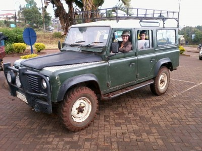 Riley and Sandi in the Land Rover