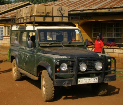 Land Rover with boxes
