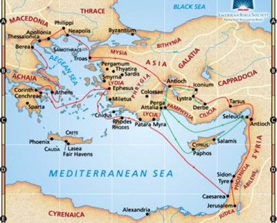The eastern Mediterranean in the 1st Century - note the location of Troas, Philppi, Antioch of Syria, and Ephesus.